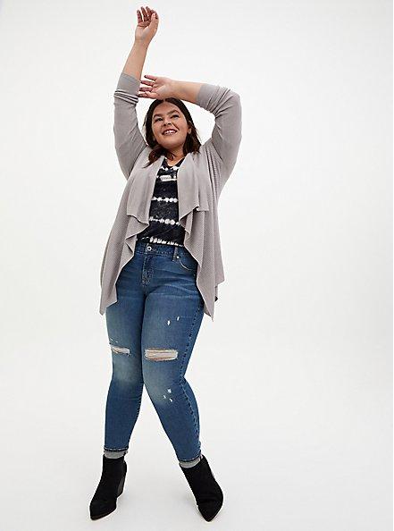 Pebble Grey Rib Stitch Cardigan Sweater, ASH, alternate