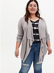 Pebble Grey Rib Stitch Cardigan Sweater, ASH, hi-res