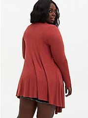 Super Soft Dusty Rose Fit & Flare Cardigan, RED, alternate