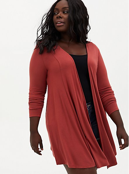 Super Soft Dusty Rose Fit & Flare Cardigan, RED, hi-res