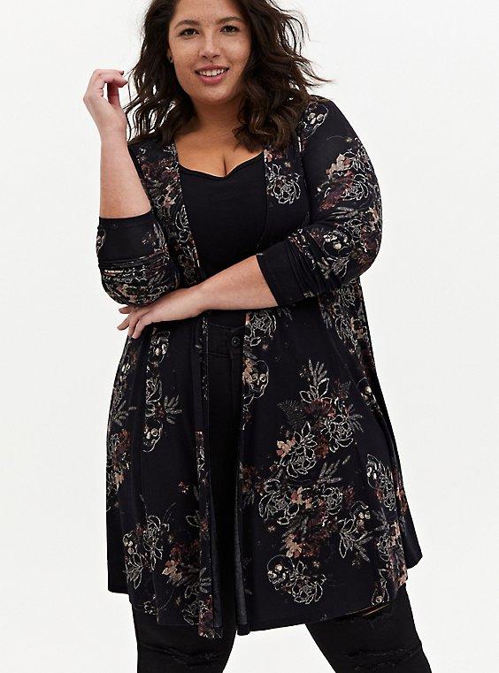 Super Soft Black Floral Fit & Flare Cardigan, MULTI, hi-res