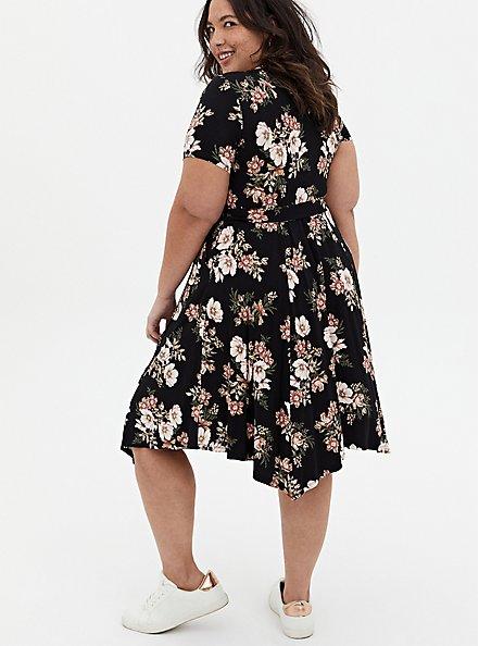 Super Soft Black Floral Handkerchief Midi Dress, FLORAL - BLACK, alternate