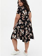 Super Soft Black Floral Handkerchief Midi Dress, FLORAL - BLACK, alternate