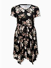 Super Soft Black Floral Handkerchief Midi Dress, FLORAL - BLACK, hi-res