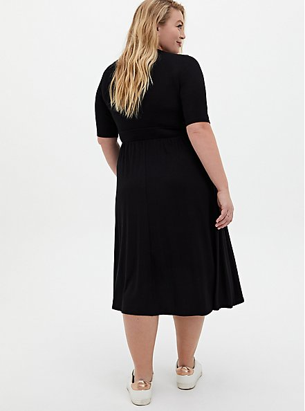 Super Soft Black Skater Midi Dress, DEEP BLACK, alternate