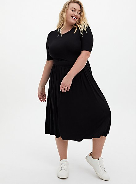 Super Soft Black Skater Midi Dress, DEEP BLACK, hi-res