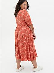 Super Soft Apricot Floral Skater Midi Dress, FLORAL - PINK, alternate