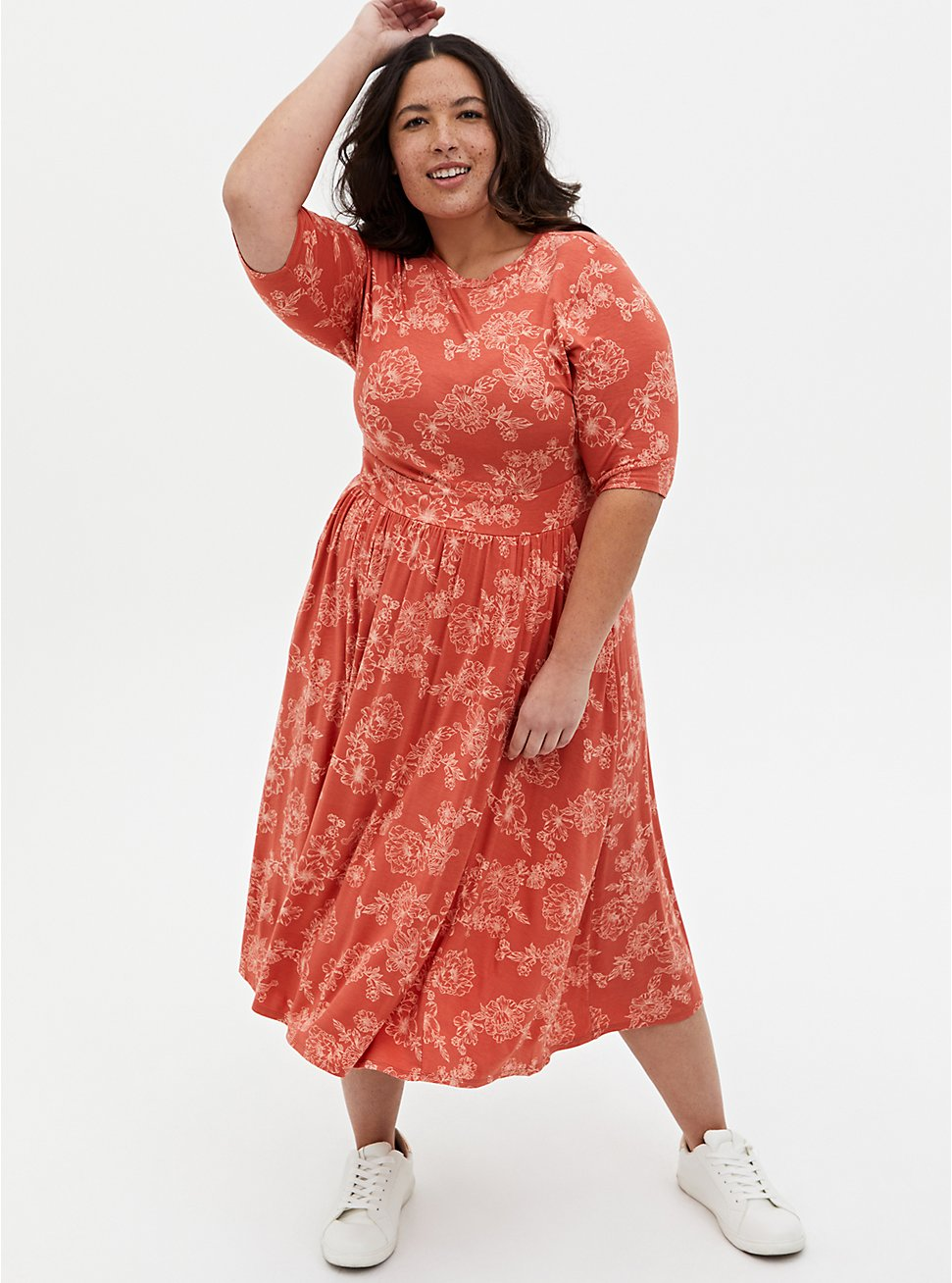 Super Soft Apricot Floral Skater Midi Dress, FLORAL - PINK, hi-res