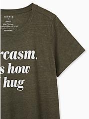 Sarcasm. It's How I Hug Slim Fit Crew Tee - Triblend Olive Green, DEEP DEPTHS, alternate