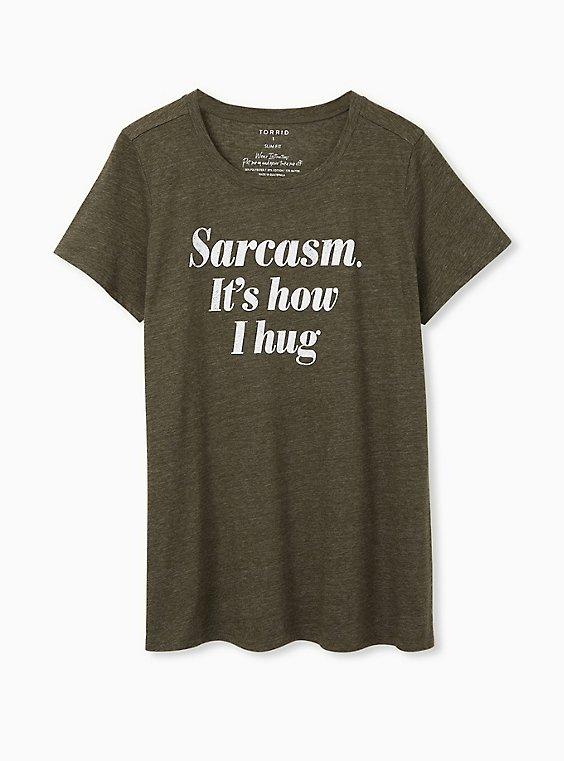 Sarcasm. It's How I Hug Slim Fit Crew Tee - Triblend Olive Green, , hi-res