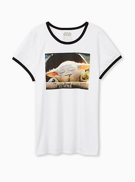 Star Wars The Mandalorian The Child Classic Fit Ringer Tee - White, BRIGHT WHITE, hi-res