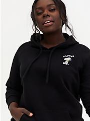 Black Snoopy Fleece Hoodie, DEEP BLACK, hi-res