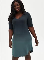 Super Soft Knit Pine Green Ombre T-Shirt Dress, MULTICOLOR OMBRE, hi-res