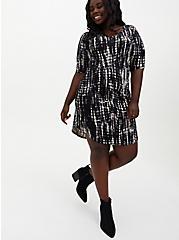 Super Soft Black Tie-Dye T-Shirt Dress, TIE DYE-BLACK, alternate