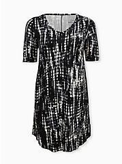 Super Soft Black Tie-Dye T-Shirt Dress, TIE DYE-BLACK, hi-res