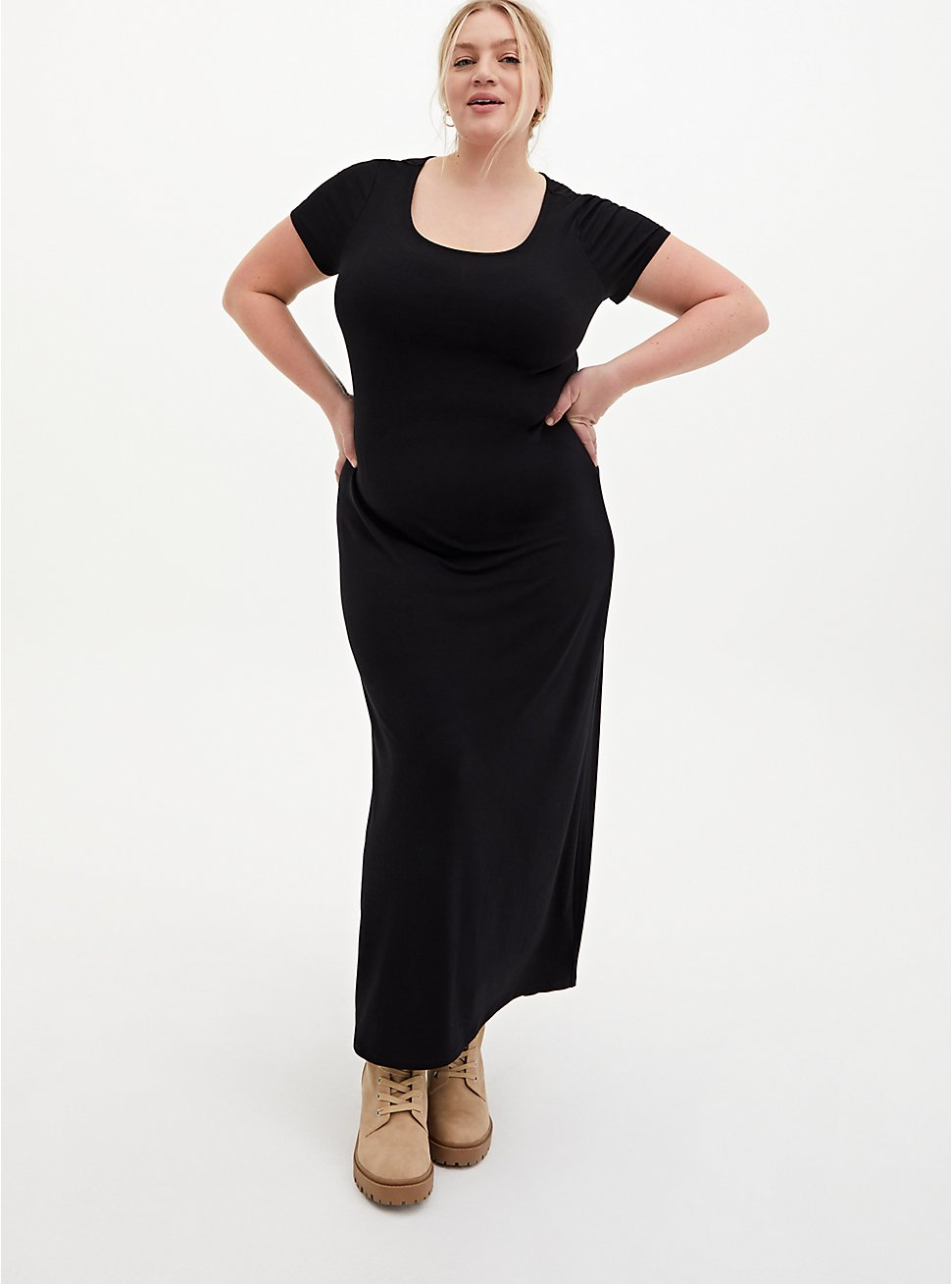 Black Jersey T-Shirt Maxi Dress, DEEP BLACK, hi-res
