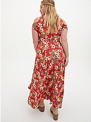 Super Soft Orange Red Floral Cold Shoulder Maxi Dress, FLORAL - ORANGE, alternate