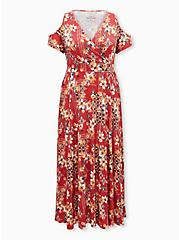 Super Soft Orange Red Floral Cold Shoulder Maxi Dress, FLORAL - ORANGE, hi-res
