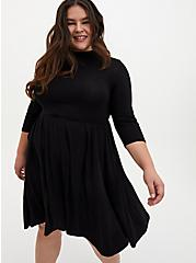 Super Soft Black Mock Neck Midi Skater Dress, DEEP BLACK, hi-res