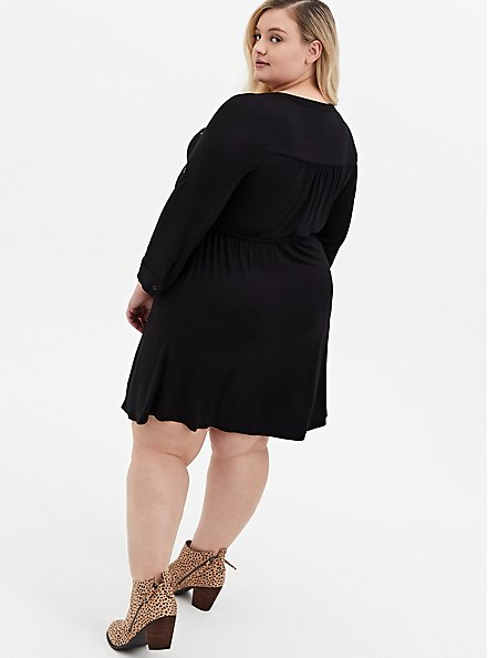 Super Soft Black Shirt Dress, DEEP BLACK, alternate