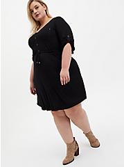 Super Soft Black Shirt Dress, DEEP BLACK, hi-res