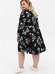 Black Floral Challis Lace-Up Shirt Dress, FLORAL - BLACK, alternate