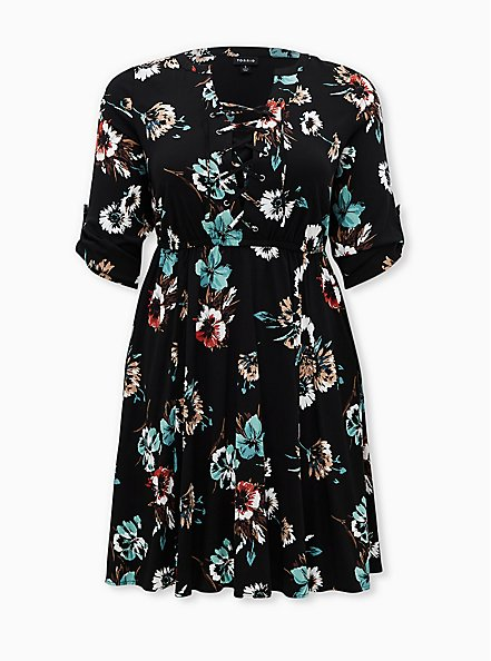Black Floral Challis Lace-Up Shirt Dress, FLORAL - BLACK, hi-res