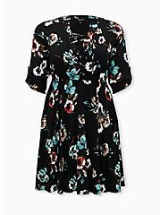 Black Floral Challis Lace-Up Shirt Dress, FLORAL - BLACK, hi-res
