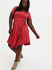 Super Soft Dusty Red Handkerchief Midi Skater Dress, CRANBERRY, alternate