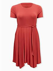 Super Soft Dusty Red Handkerchief Midi Skater Dress, CRANBERRY, hi-res