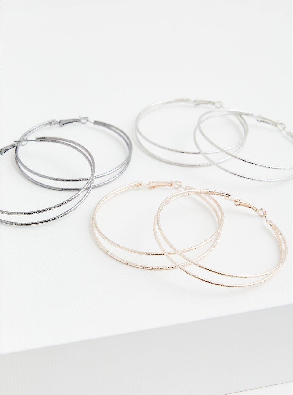 Silver-Tone Double Hoop Earrings Set - Set of 3, , hi-res