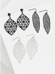 Black Filigree Leaf Earrings Set - Set of 3, , alternate