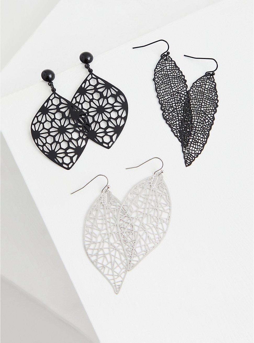 Black Filigree Leaf Earrings Set - Set of 3, , hi-res