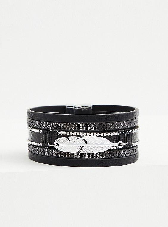 Black & Silver-Tone Leaf Magnetic Bracelet, SILVER, hi-res