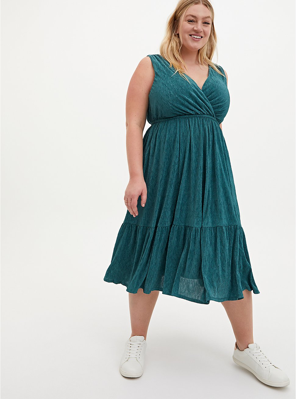 Pine Green Crinkle Knit Surplice Midi Skater Dress, SILVER PINE, hi-res