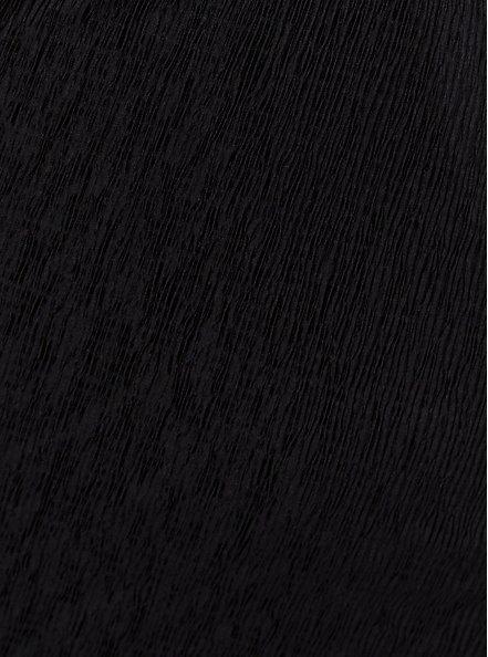 Black Crinkle Knit Surplice Midi Skater Dress, DEEP BLACK, alternate