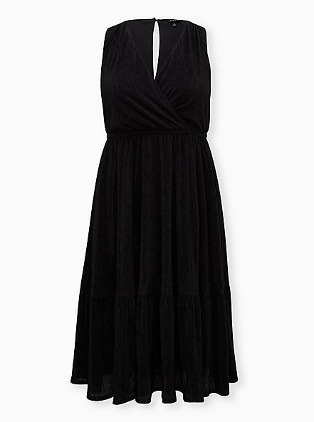 Black Crinkle Knit Surplice Midi Skater Dress, DEEP BLACK, hi-res