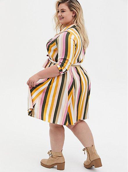Multi Stripe Stretch Challis Shirt Dress, STRIPE - MULTI, alternate