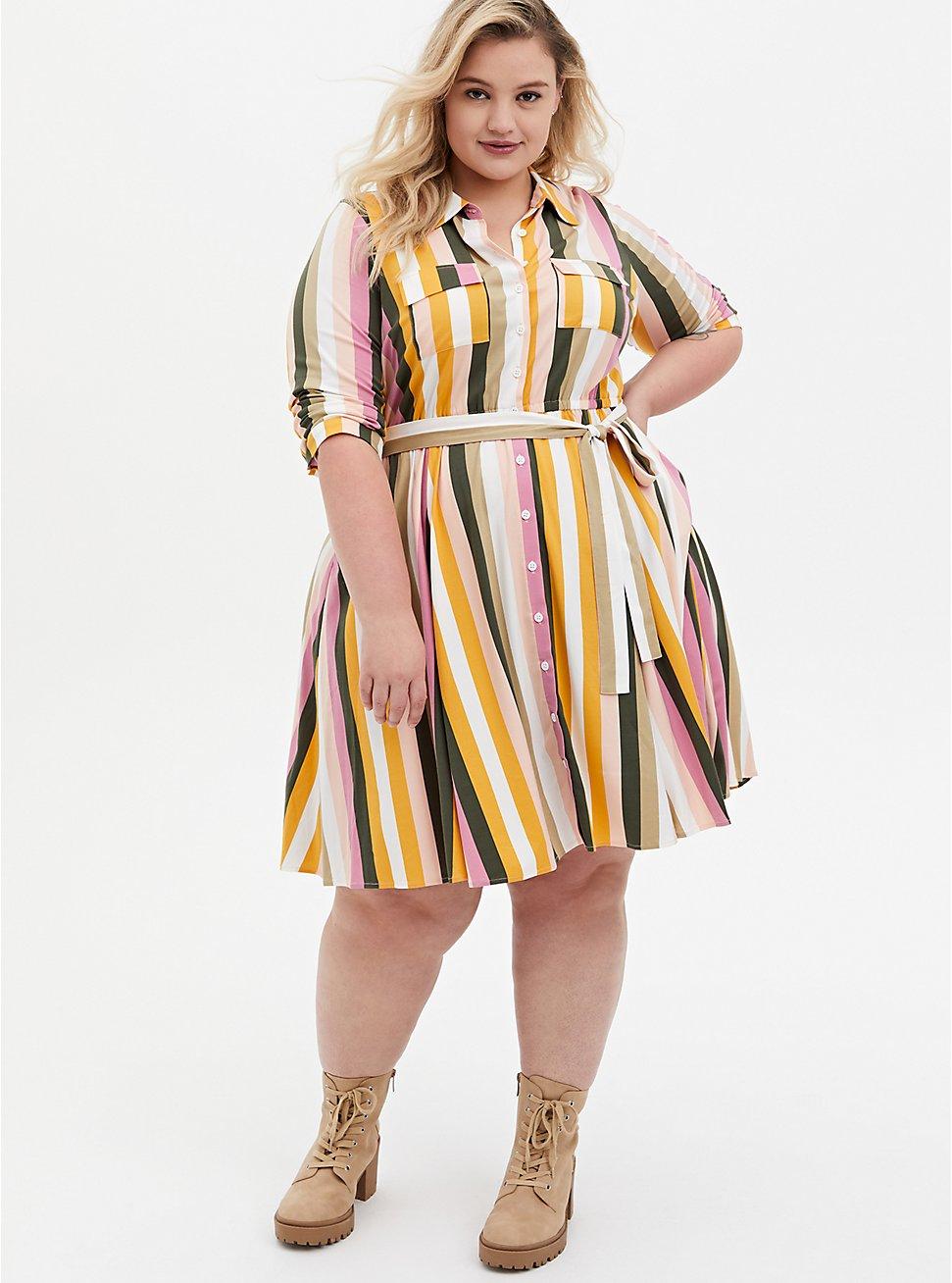 Multi Stripe Stretch Challis Shirt Dress, STRIPE - MULTI, hi-res