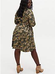Olive Green Foil Floral Stretch Challis Shirt Dress, FLORAL - GREEN, alternate