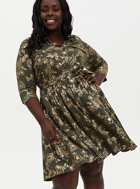 Olive Green Foil Floral Stretch Challis Shirt Dress, , hi-res
