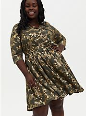 Olive Green Foil Floral Stretch Challis Shirt Dress, FLORAL - GREEN, hi-res