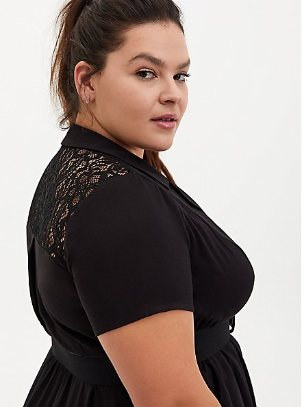 Black Stretch Challis Lace Midi Shirt Dress, DEEP BLACK, alternate