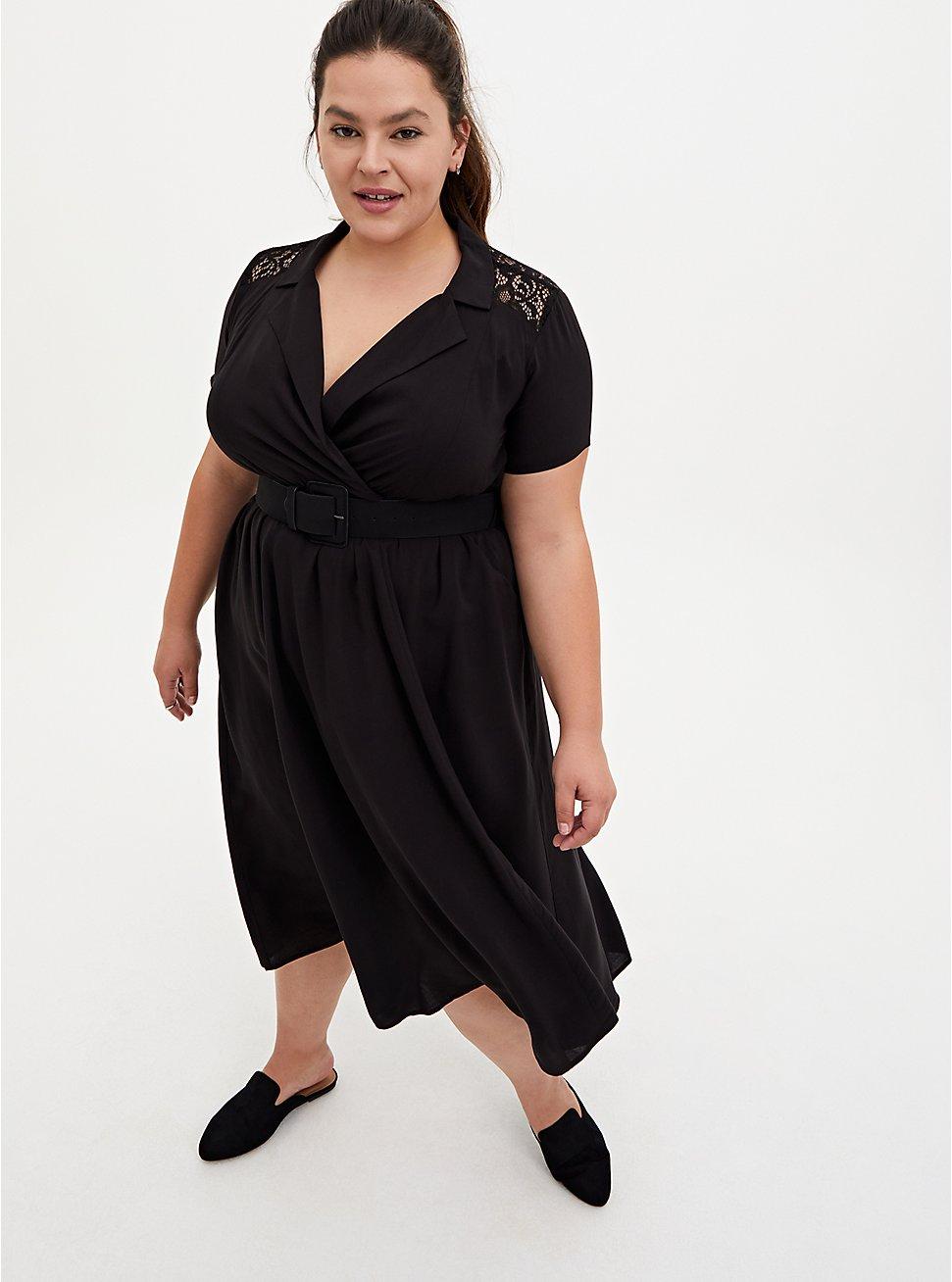 Black Stretch Challis Lace Midi Shirt Dress, DEEP BLACK, hi-res