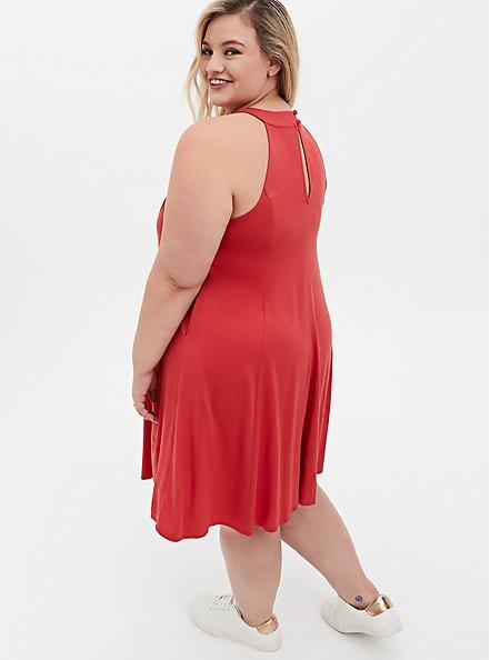 Cranberry Red Stretch Challis Mini A-Line Dress, CRANBERRY, alternate