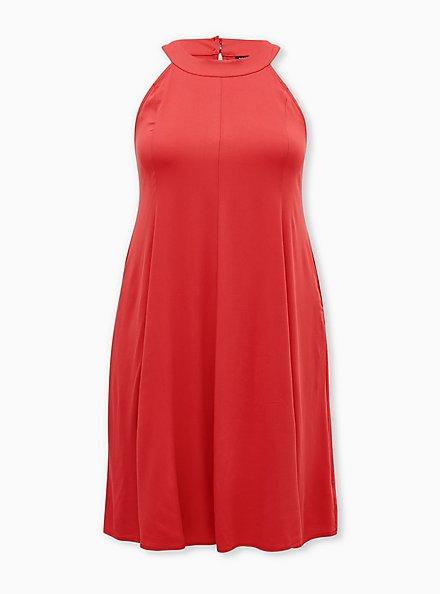 Cranberry Red Stretch Challis Mini A-Line Dress, CRANBERRY, hi-res