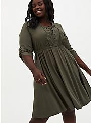 Olive Green Stretch Challis Lace-Up Shirt Dress, DEEP DEPTHS, alternate