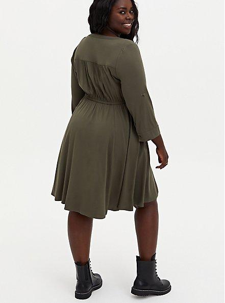 Olive Green Stretch Challis Lace-Up Shirt Dress, DEEP DEPTHS, alternate