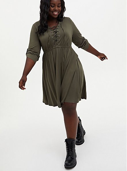 Olive Green Stretch Challis Lace-Up Shirt Dress, DEEP DEPTHS, hi-res
