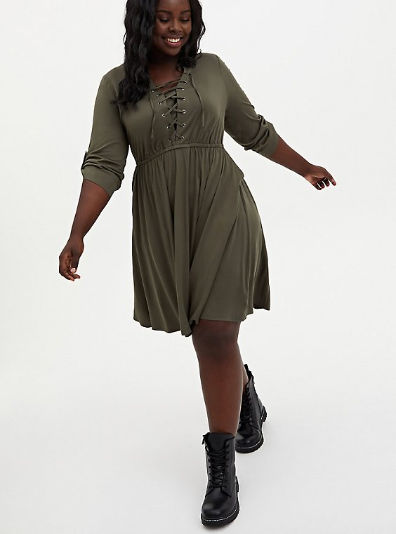 Olive Green Stretch Challis Lace-Up Shirt Dress, , hi-res